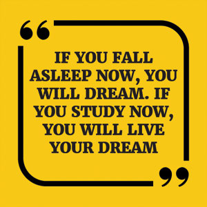 If you fall asleep now, you will dream. If you study now, you will live your dream
