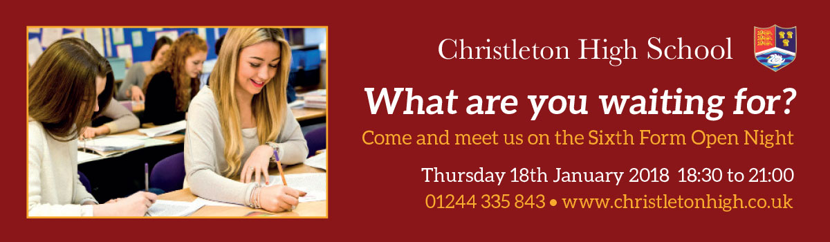 Christleton Sixth Form - What are you waiting for? Come and join us in our Sixth Form - 01244 335 843 www.christletonhigh.co.uk