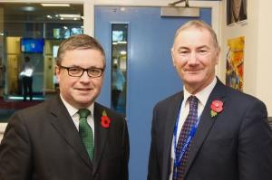 Headteacher, Damian Stenhouse welcomes Robert Buckland MP, to Chritleton High School