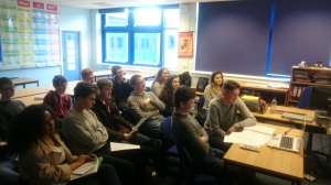 Sixth Form Politics students take part in an international Skype call with students from Fonda-Fultonville Central School Montgomery County, New York State