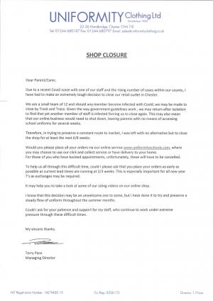 Uniformity Message - Closure of shop